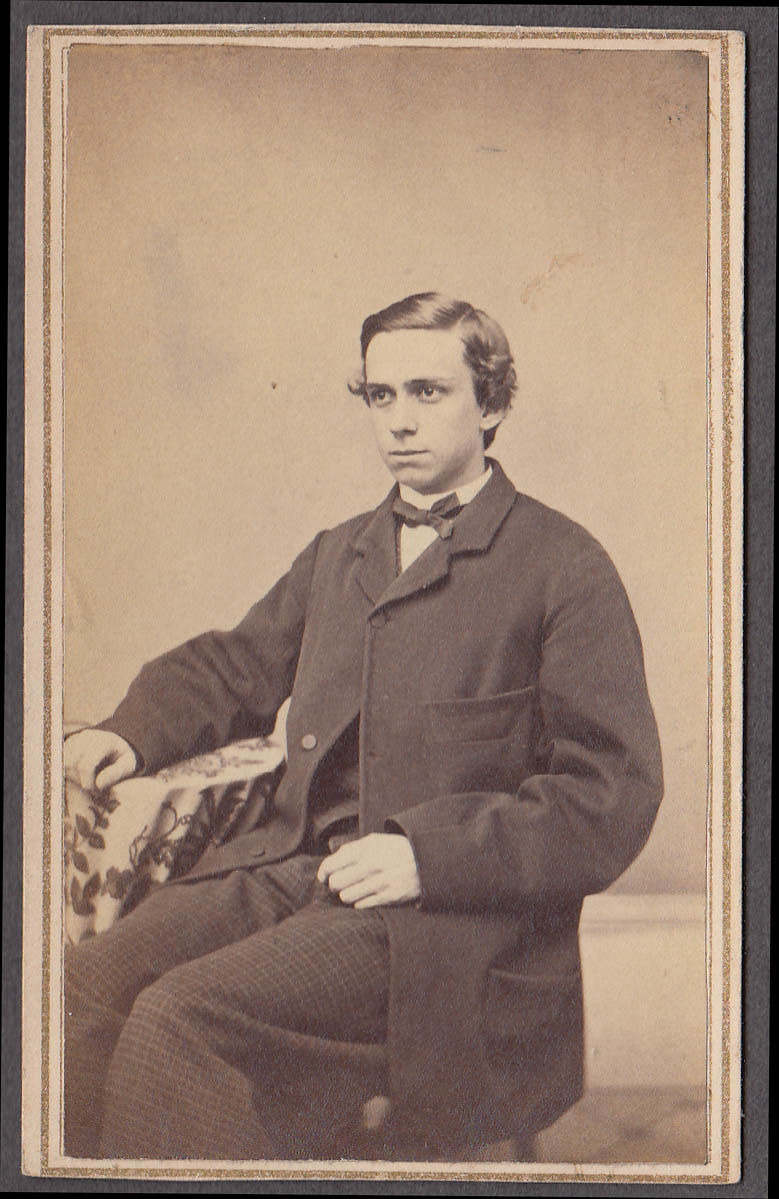 Edwin S Lines youth seated studio CDV revenue stamp 1860s