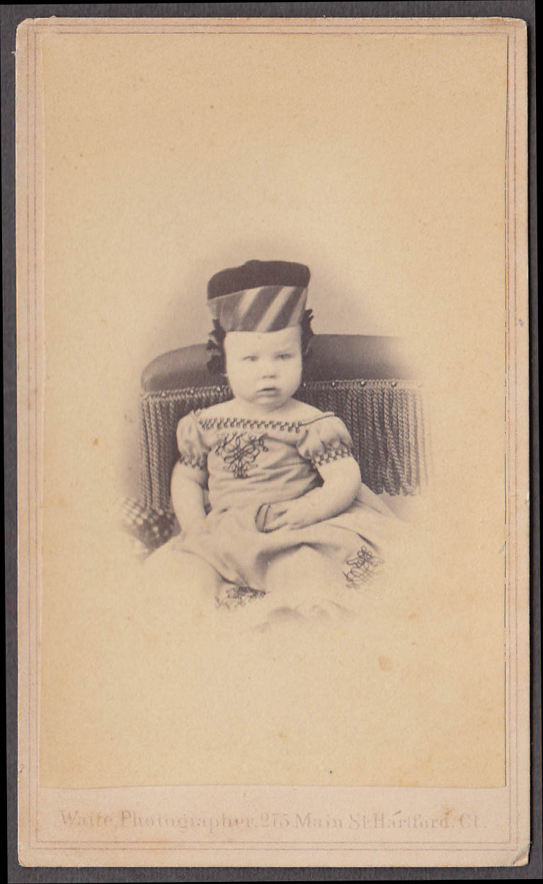 Toddler seated striped hat CDV by Waite Hartford CT revenue stamp 1866