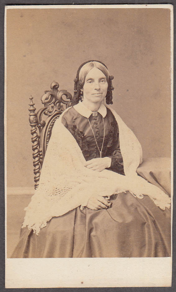 Aunt Rebecca seated pendant shawl CDV by F Gutekunst Philadelphia