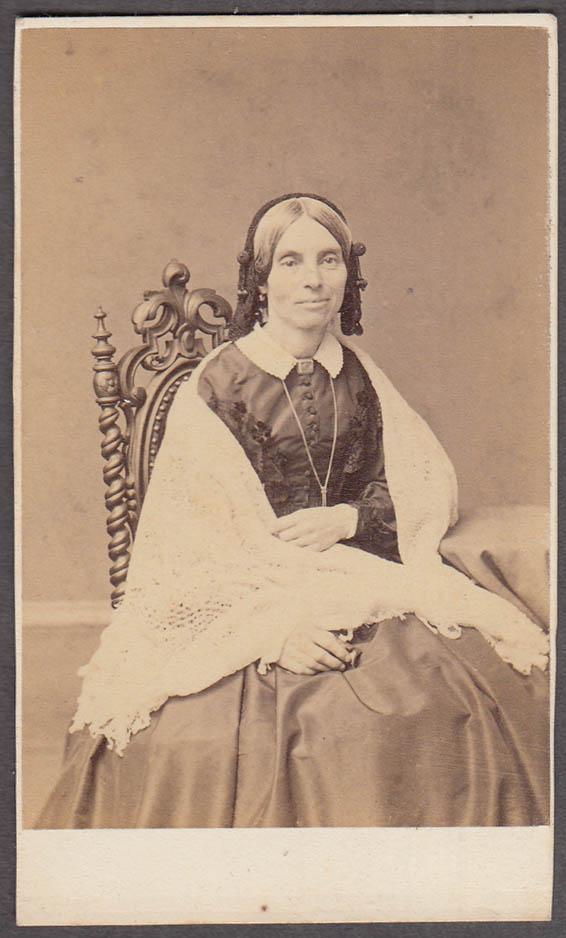 Aunt Rebecca seated pendant shawl CDV by F Gutekunst Philadelphia