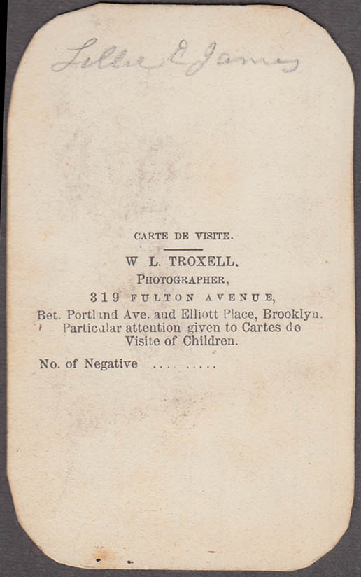 Lillie E James young girl standing portrait CDV by W L Troxell Brooklyn NY