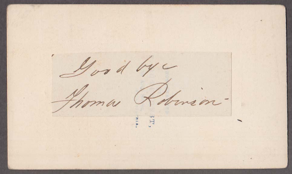 SIGNED Thomas Robinson seated man holds top hat CDV Philadelphia