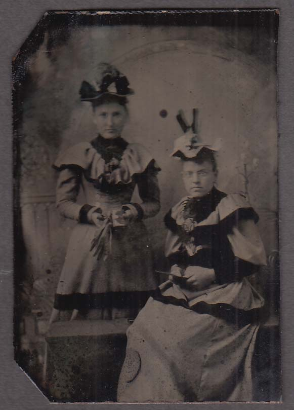 2 women 1 seated gloves book card flowered hats studio tintype 1860s