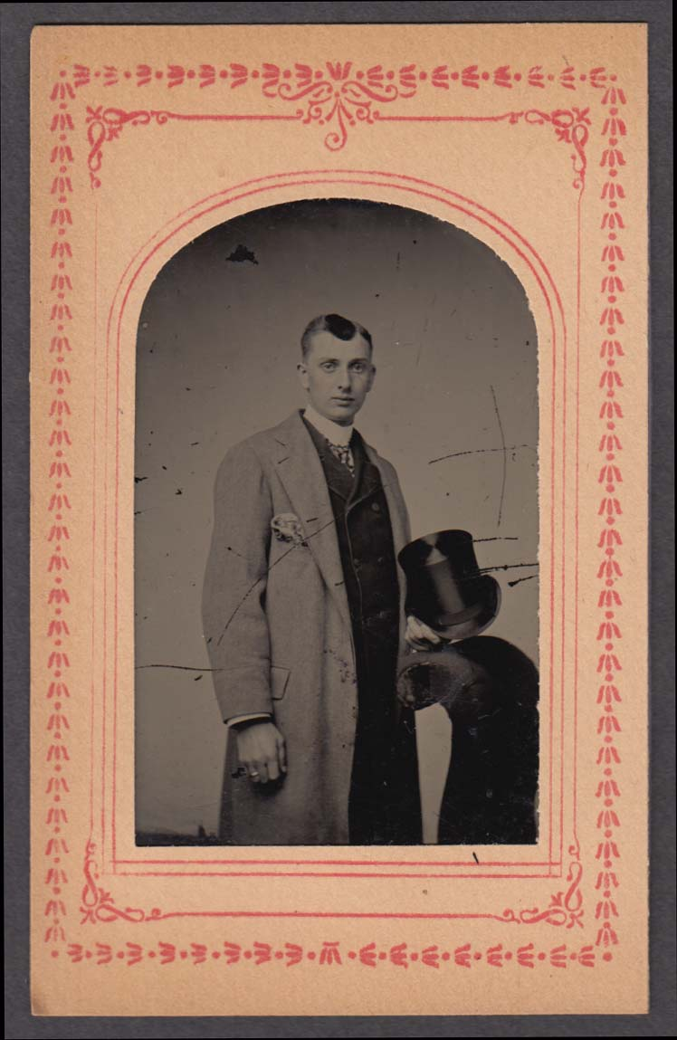 Standing man grey coat fine top hat studio tintype paper matte 1860s