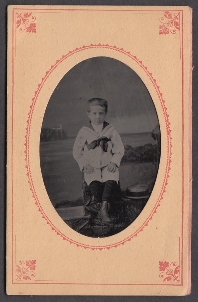 Blond boy in sailor suit & straw hat studio tintype ca 1860s
