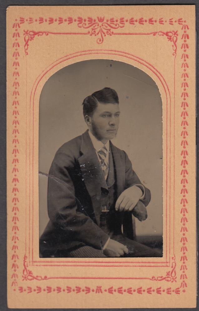 Frank P Keeler high hair sideburns studio tintype Burlington VT ca 1860s