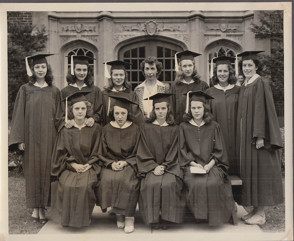10 female grads Plainville High School CT photo 1944 or 1945 Honor Society?