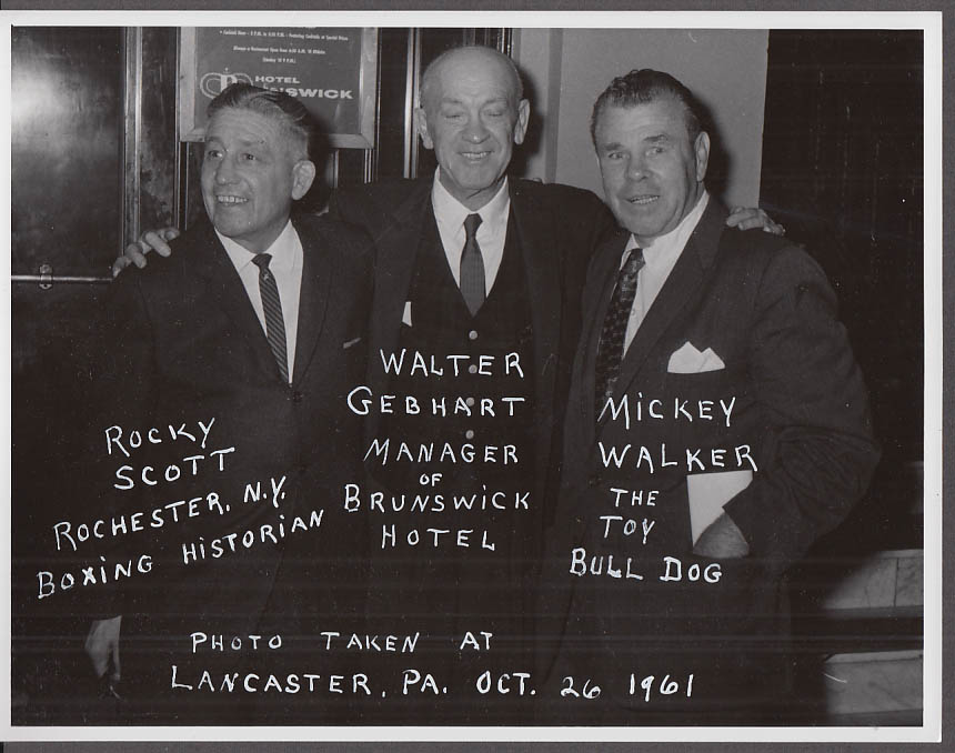 Boxing photo: Mickey Walker Walter Gebhart Rocky Scott Lancaster PA 1961