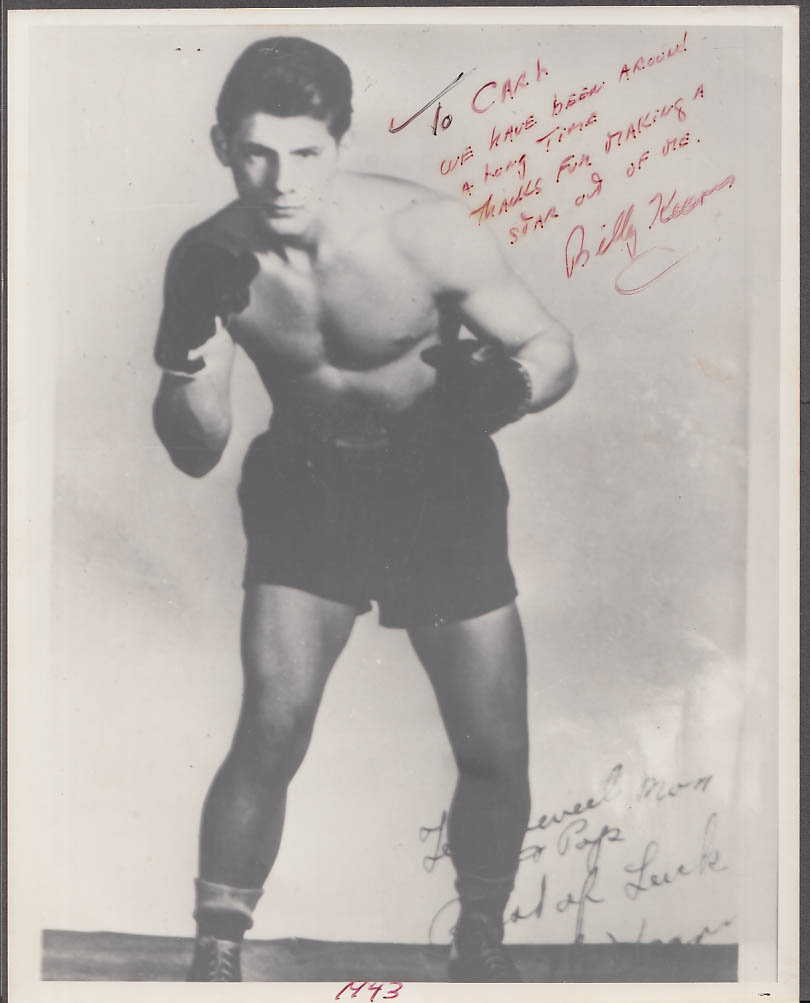 SIGNED & INSCRIBED Welterweight boxer Billy Kearns photo 1960s