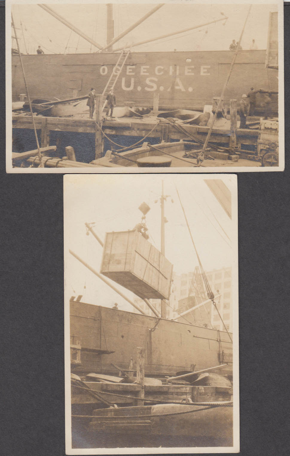S S Ogeechee loading at dockside two RPPC 1915 commandeered by British