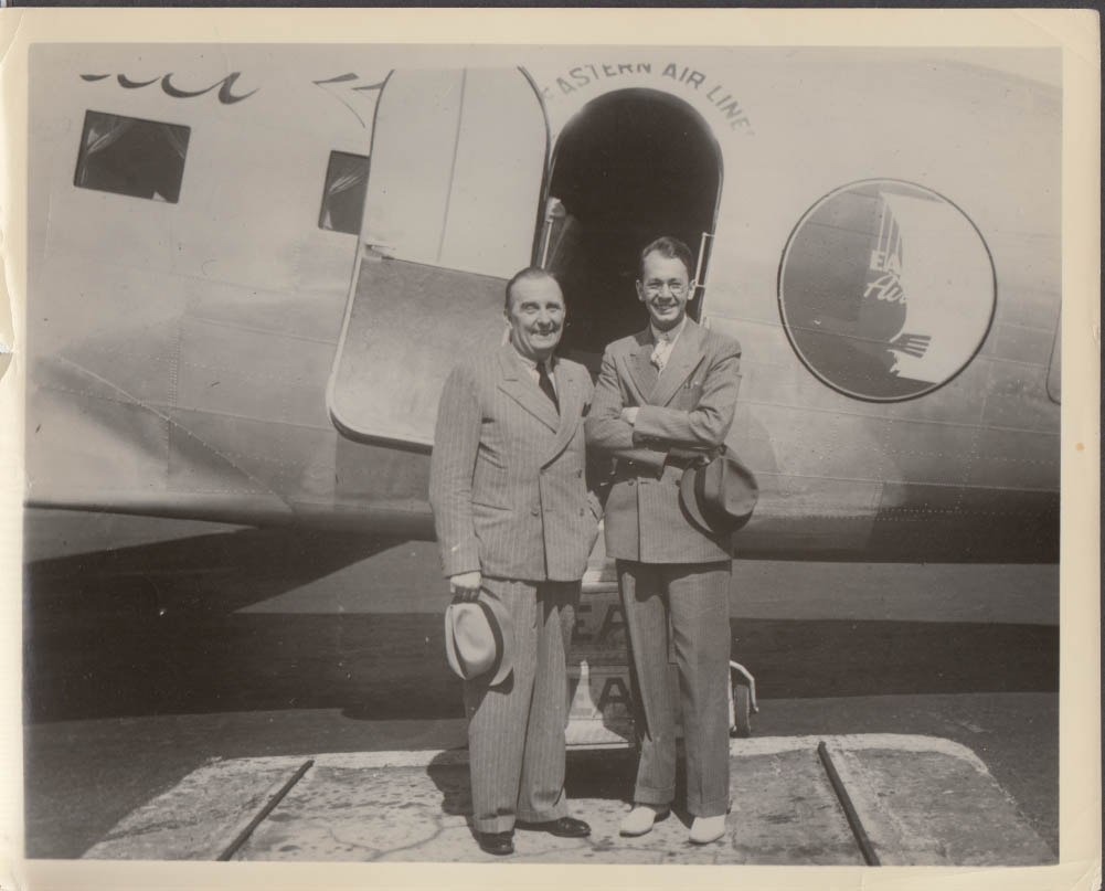 2 men double-breasted suits & fedoras Eastern Air Lines DC-3 photograph ca 1940s