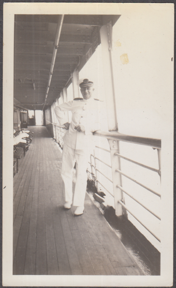 Captain Sundstrom of the Southern Pacific Morgan Lines S S Dixie snapshot 1936