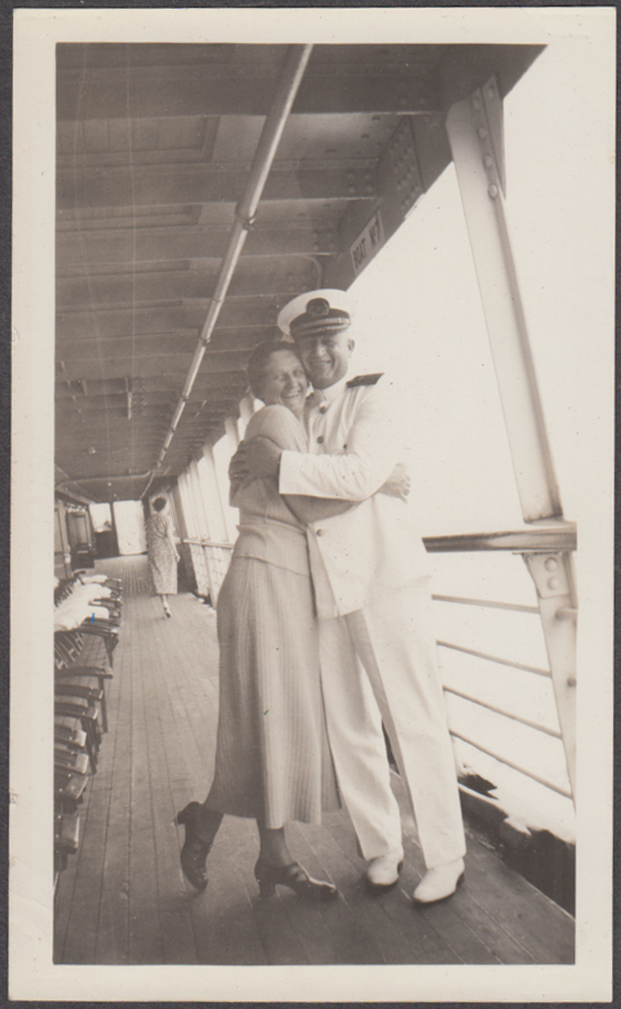 Capt Sundstrom hugs lady passenger Southern Pacific Morgan Lines S S Dixie 1936