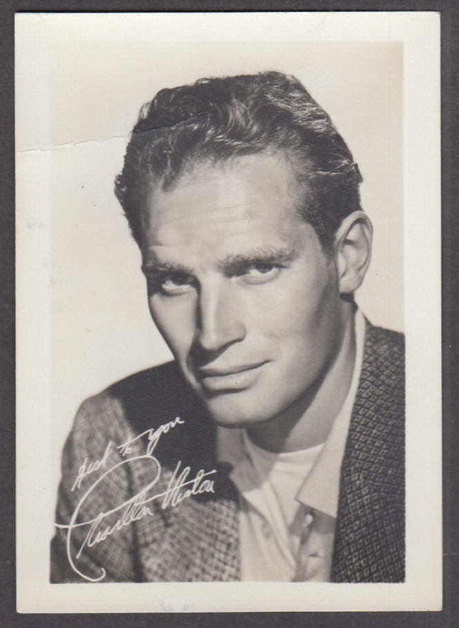Actor Charlton Heston fan club photograph ca 1950s facsimile autograph
