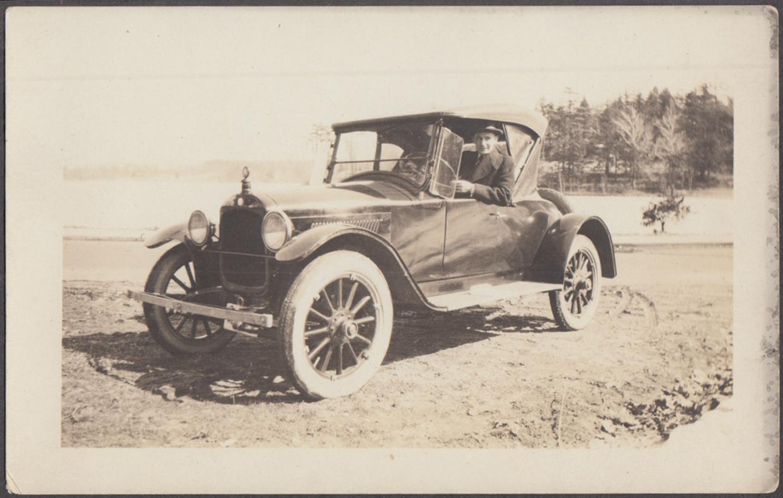 1920 +/- Hupmobile Roadster & driver RPPC photograph
