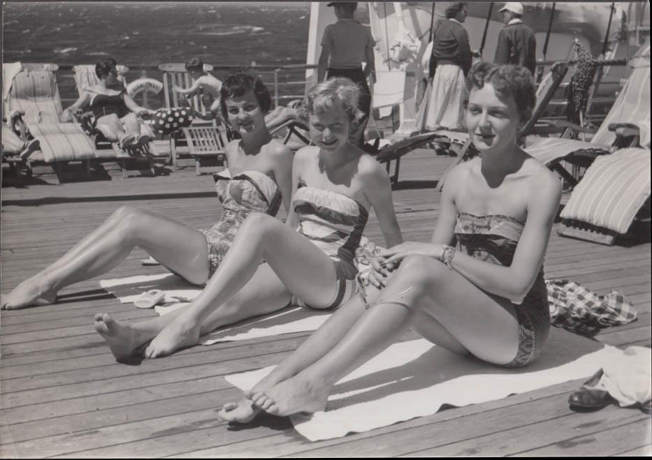 Costa Line MV Bianca C shipboard photo three bathing beauties ca 1950s #1