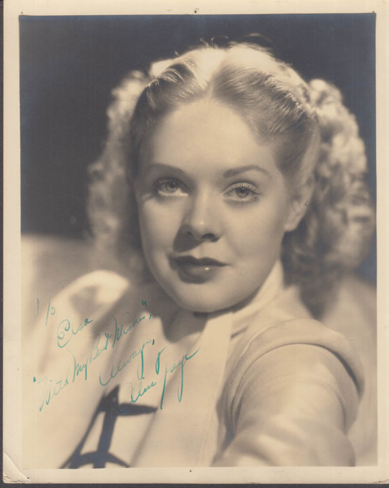 Actress Alice Faye studio photograph GENUINE AUTOGRAPH 1936