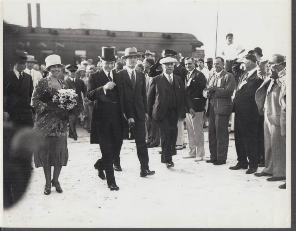 Mrs & Mrs Calvin Coolidge leaving train Inauguration Week photo 1923