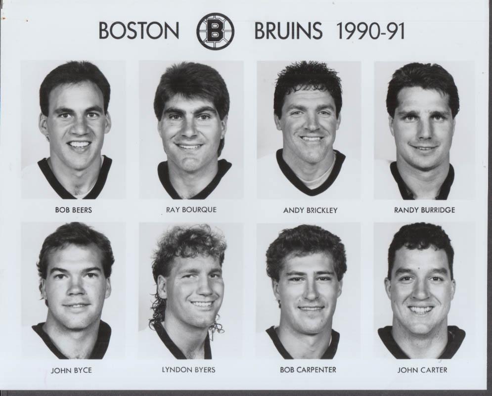 1990-1991 Boston Bruins set of four 8x10 photos