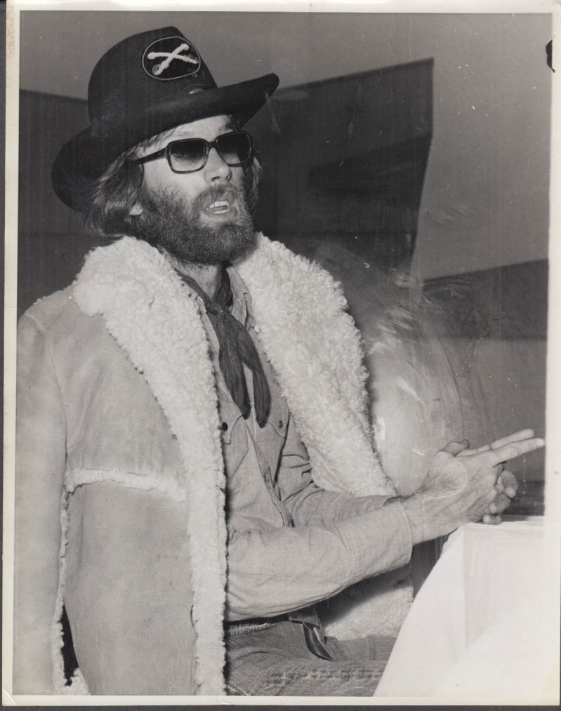 Actor Peter Fonda in sheepskin coat & Union Army hat photo 1971