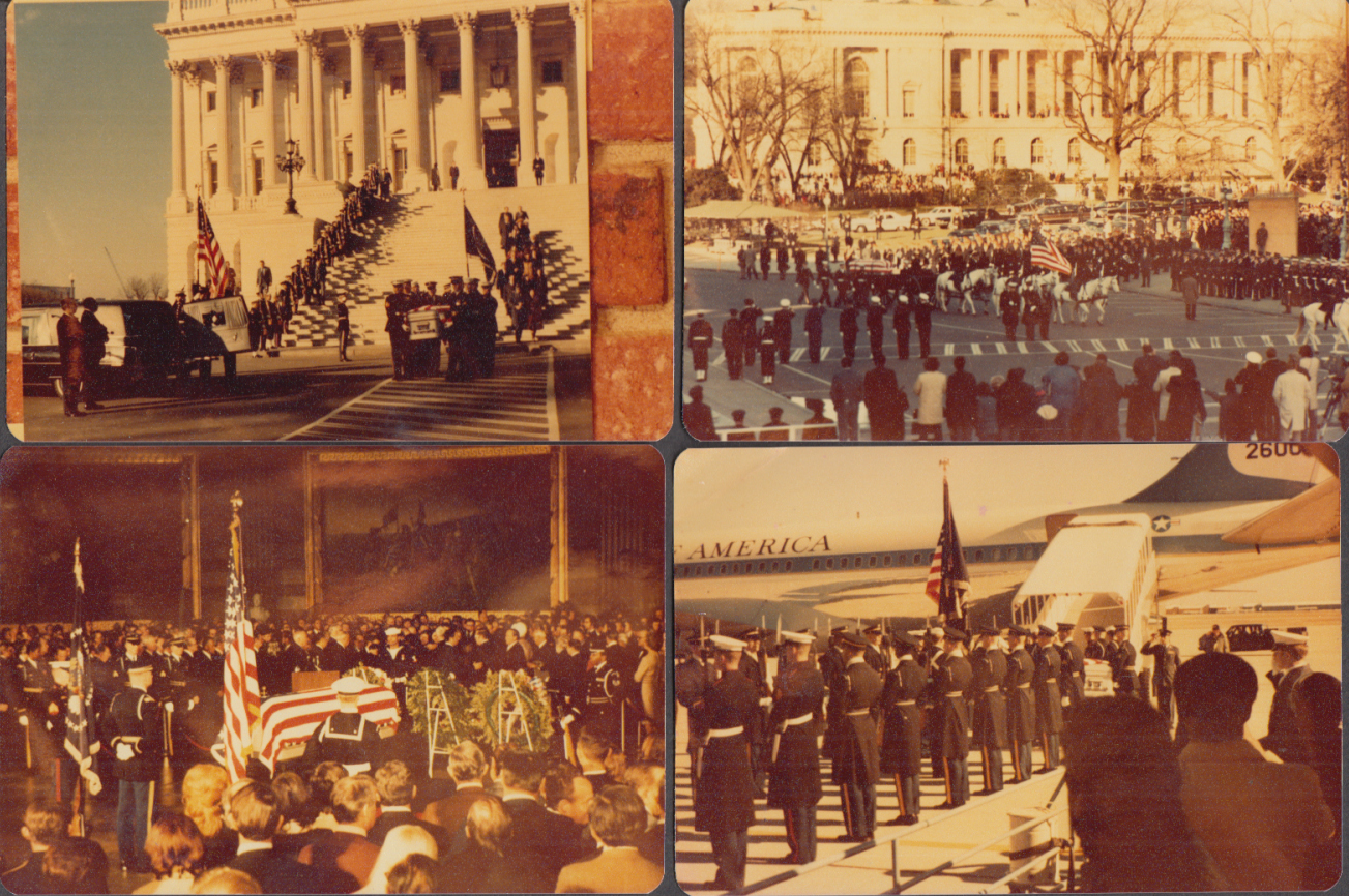 Collection of 47 color photos & negatives of LBJ Funeral 1973