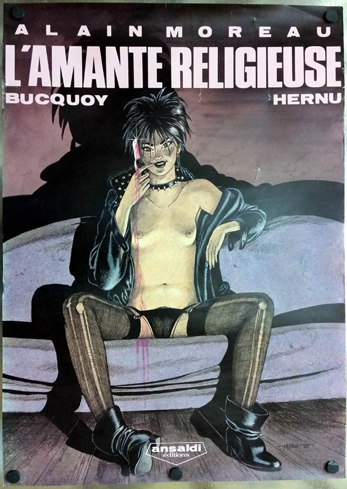 L'Amante Religieuse comic book poster Alain Moreau in French 1985