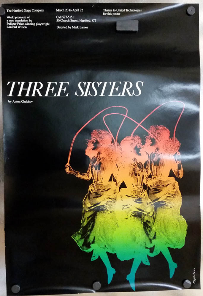 Anton Chekhov's Three Sisters theatre poster Hartford Stage 1992