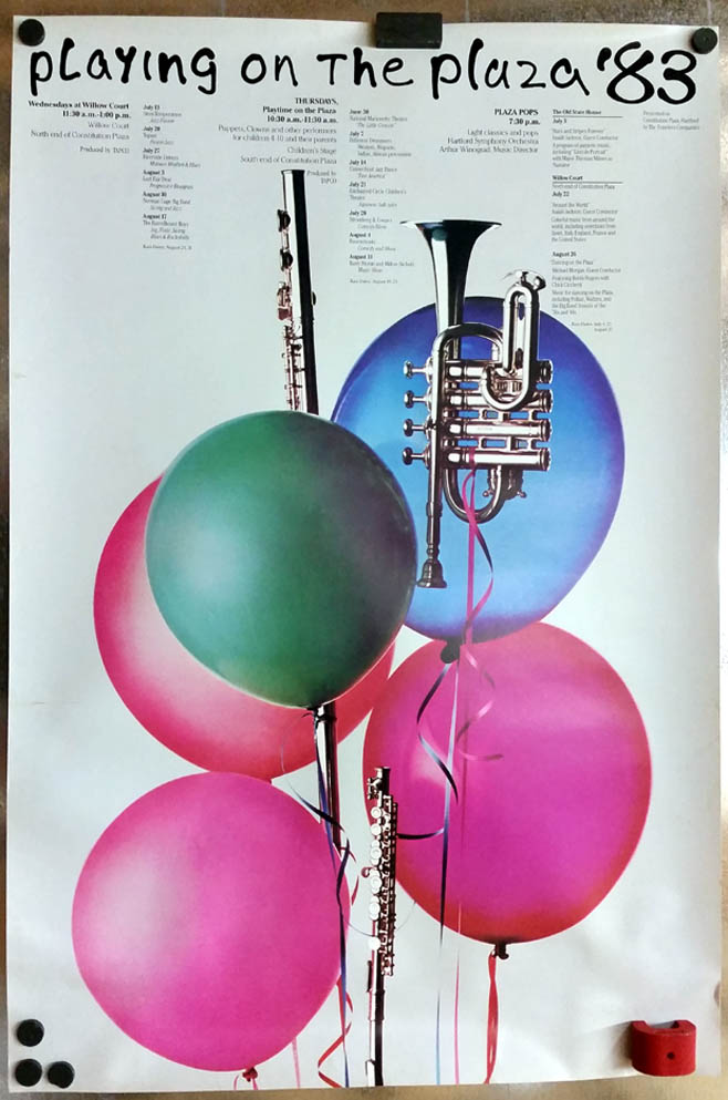 Hartford Symphony Orchestra Playing On the Plaza poster 1983 CT