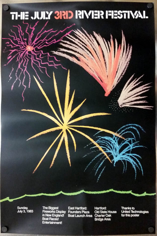 Hartford Riverfestival poster Independence Day 1983 fireworks boat races CT