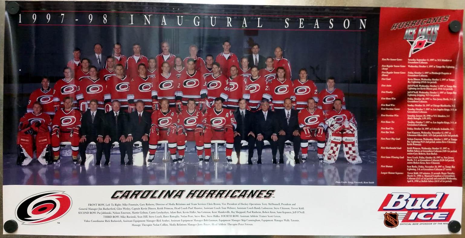 Carolina Hurricanes NHL Inaugural Season Team Poster 1994