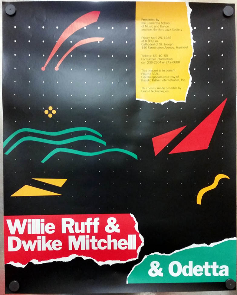 Image for Willia Ruff Dwike Mitchell & Odetta Hartford Jazz Society concert poster 1985