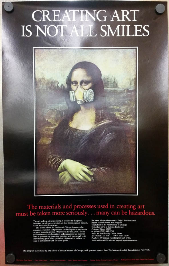 Mona Lisa Gas Mask Creating Art is Not All Smiles School of Art U Chicago poster