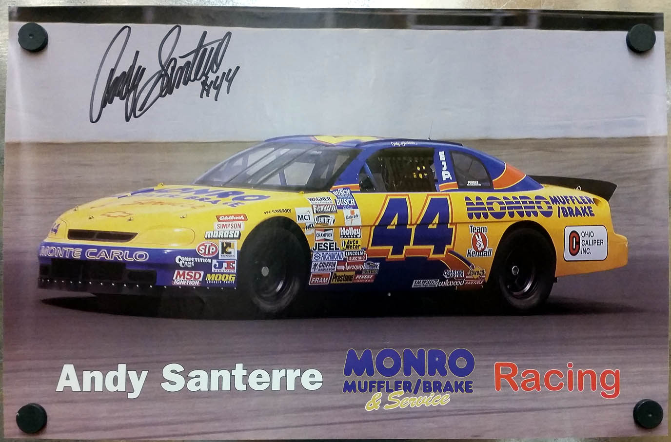 Image for SIGNED Andy Santerre Monro Muffler Monte Carlo #44 poster ca 1990s