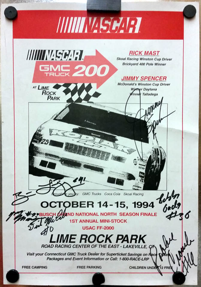 NASCAR GMC Truck 200 Lime Rock Park Season Finale 1994 poster SIGNED 5 drivers