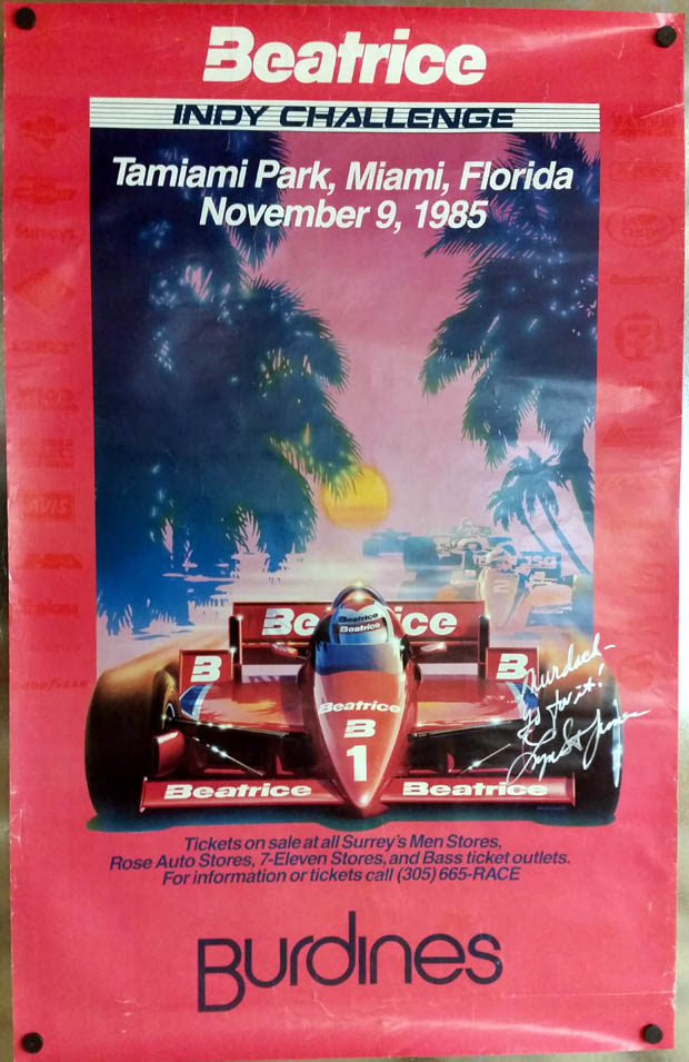 SIGNED Lynn St James Beatrice Indy Challenge Miami FL poster 1985