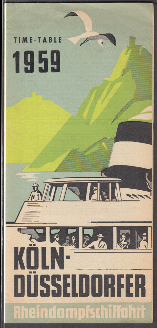 Cologne-Dusseldorf Koln-Dusseldorfer Rhein Steamship Time Table 1959 Germany