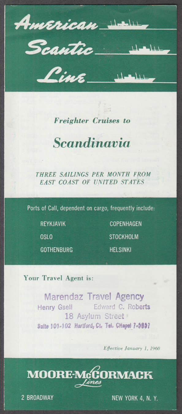 American Scantic Freighter Cruises to Scandinavia Moore-McCormack folder 1960