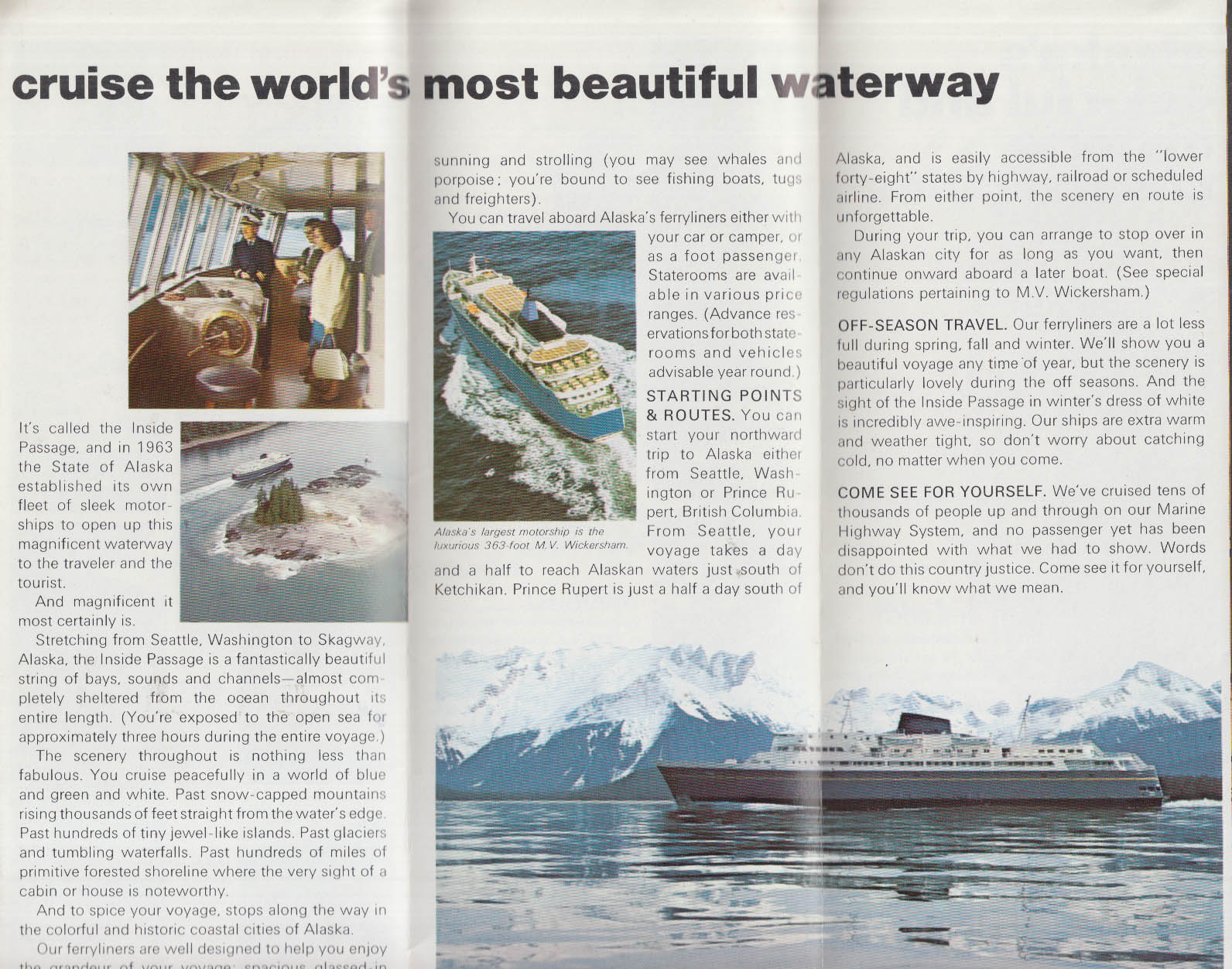 Image for Alaska State Ferries M V Wickersham cruise folder 1971
