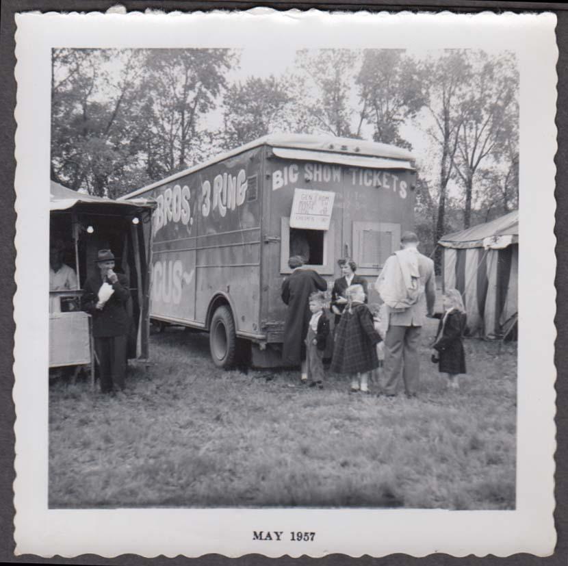 Mills Bros Circus ticket wagon snapshot 1957 by Johny Vogelsang Niles MI