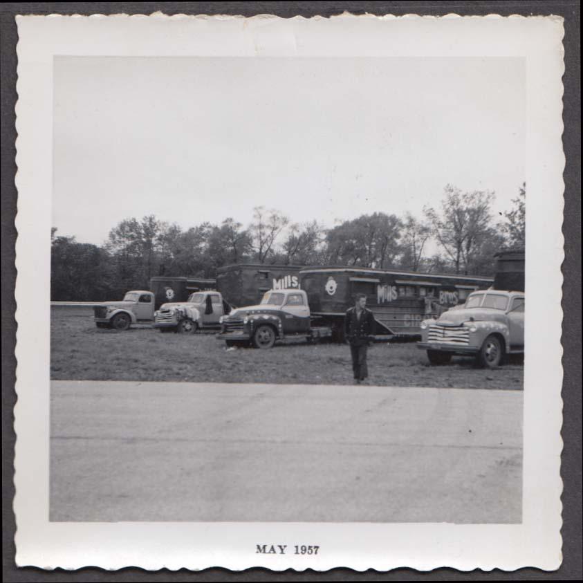 Mills Bros Circus backlot trucks big top set-up snapshot 1957 by Vogelsang