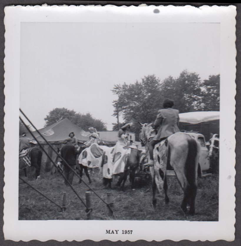 Mills Bros Circus girl & horse act getting ready backlot snapshot 1957