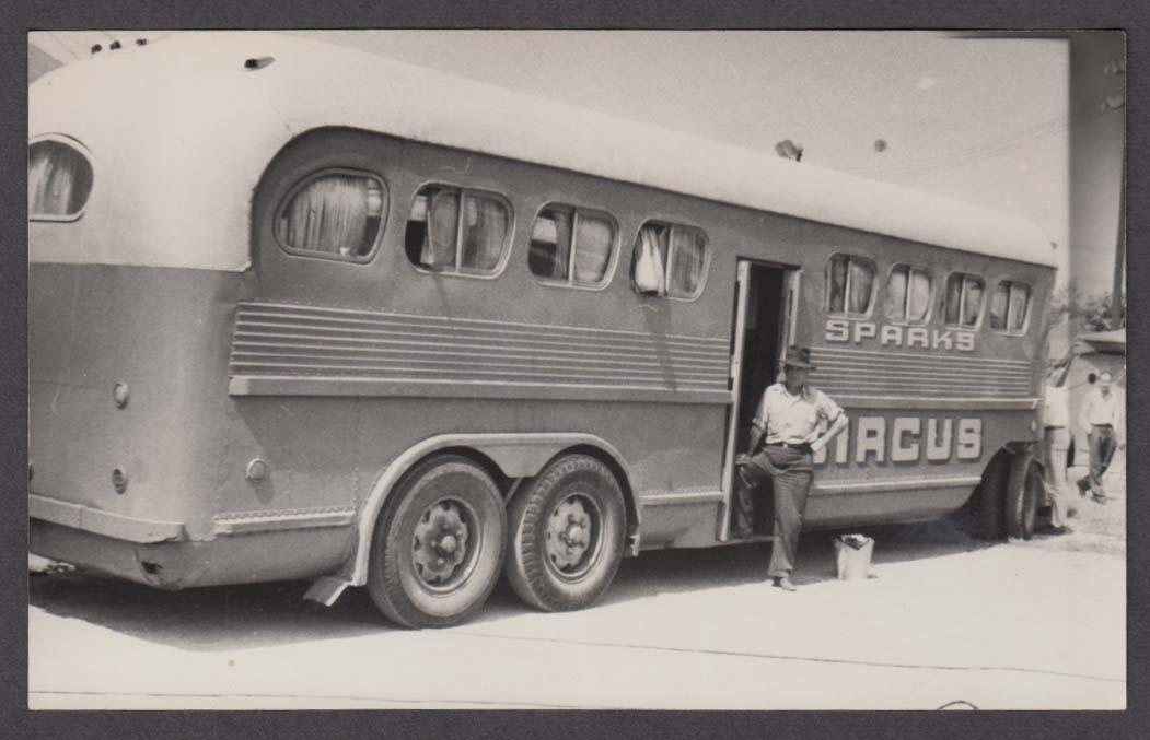 Sparks Circus crew bus backlot snapshot 1946