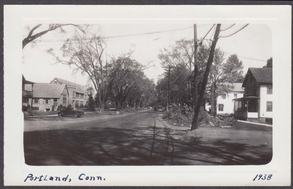 Street after hurricane damage Portland CT snapshot 1938