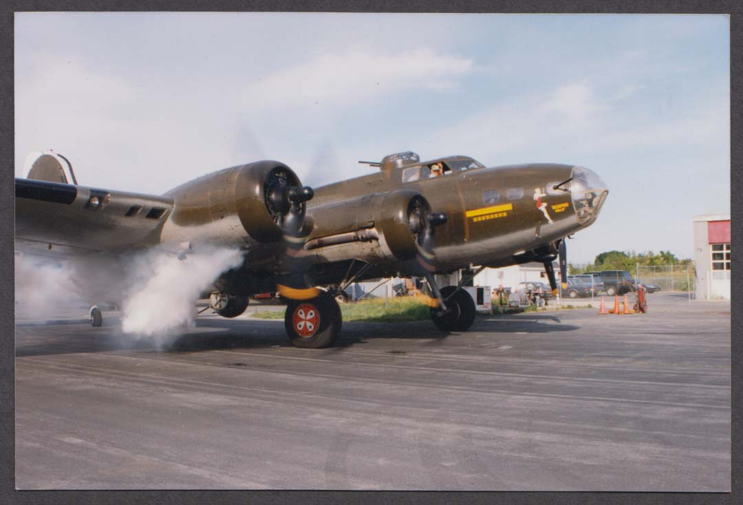 USAAF Boeing B-17 Memphis Belle firing up engines color air show photo