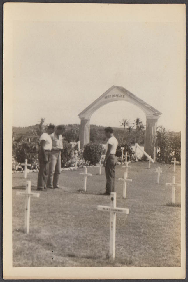 4th Marine Division Cemetery Iwo Jima Japan photo 1945 Pat Terry & Doug
