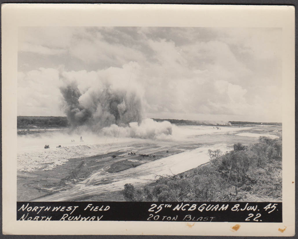 20-ton blast while building N Runway NW Field 25th NCB Guam 6/8 1945 photo