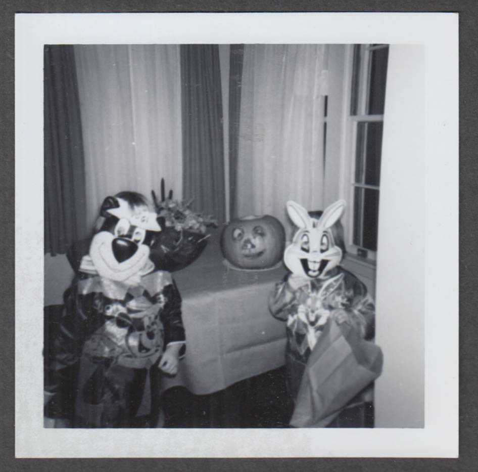 Pattie as Yogi Bear & Anne as Bugs Bunny Halloween snapshot 1963