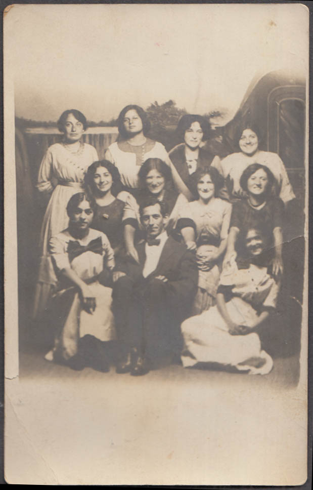 10 women & 1 man signing group? RPPC Hollywood Studio Rockaway Beach NY 1911