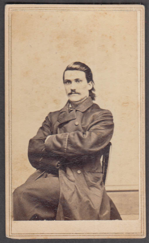 J B Fuller Swept Back Hair Arms Folded Overcoat Cdv Kellogg Bros