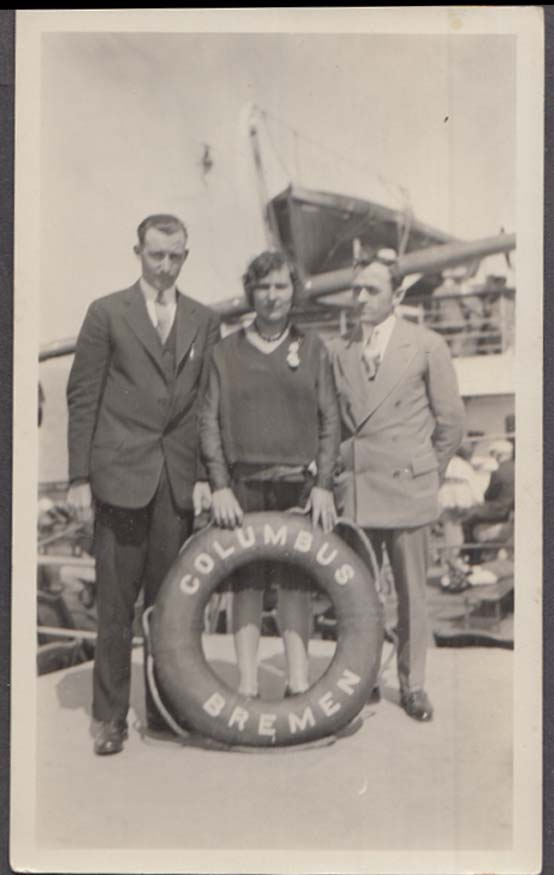 3 passengers aboard Norddeutscher Lloyd Bremen S S Columbus 1920s photograph